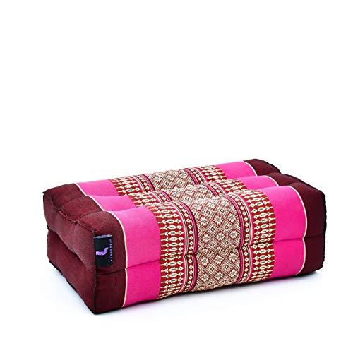 Leewadee Yoga Bloc Pilates Cube Coussin Rectangulaire Produit Naturel Et Écologique, 35x18x12 cm, Kapok, bai Rose Fuchsia