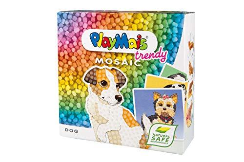PlayMais TRENDY Mosaic Dogs Kreativ-Set zum Basteln für Kinder ab 8 Jahren | Über 3.000 Stück & 6 Mosaik Klebebilder mit Hunden | Fördert Kreativität & Feinmotorik | Natürliches Spielzeug