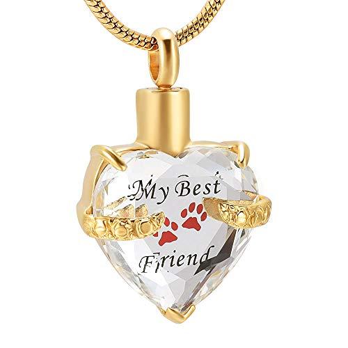 Aska Halsband Crystal Heart Rostfritt Stål Kremering Ask Smycken Graverade Tass Min Bästa Vän Pet Memorial Urn Halsband-Silver