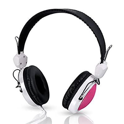 Kasstino DJ Style Wired Adjustable Headphones for Kids Boys Girls Childrens Teens Lightweight Over-Ear Stereo Headphone for Music PC MP3 MP4 iPod iPhone iPad Tablets (StyleA-Pink) by Kasstino