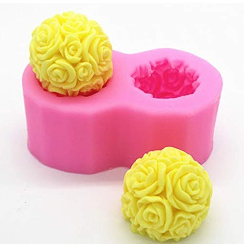 Fewear 3D-Rosenkugel-Form, für Aroma, Kerzen, Gips, handgefertigt, Dekoration, Bastelarbeiten, Kerzen, Mousse, Backform, Silikonwerkzeug