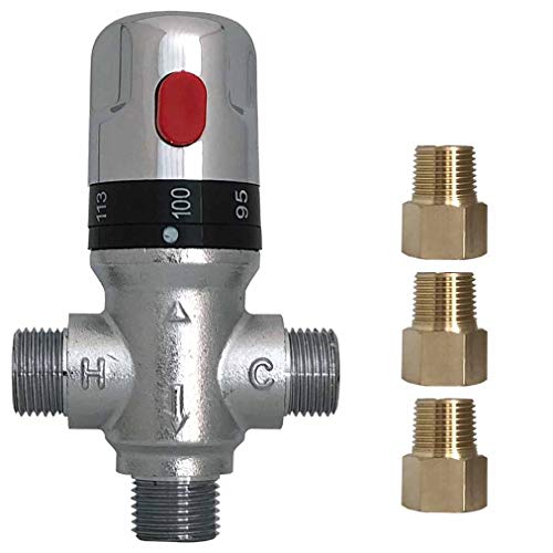 Atmama Three-way Thermostatic Mixing Valve,1/2NPT connections,Solid Brass