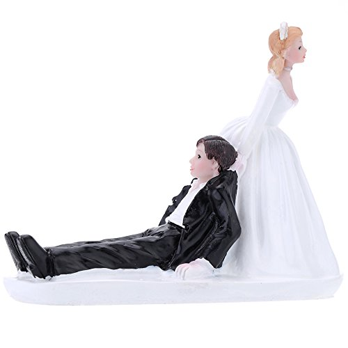 Anself Synthetic Resin Bride & Groom Wedding Cake Topper Romantic Wedding Party Decoration Adorable Figurine Craft Gift