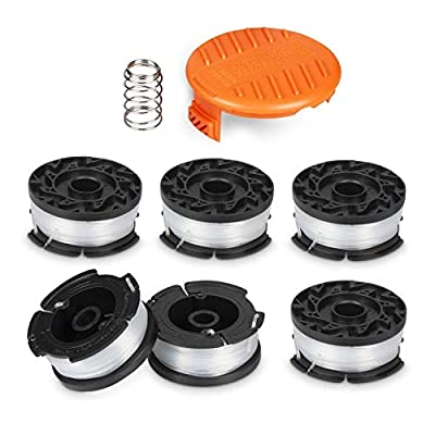 Deyard Trimmer Spool for BLACK + DECKER Autofeed System Replacement Durable AF-100 String Trimmer Edger, 30ft 0.065 inch Line String Trimmer (6 Replacement Spool, 1 Spool Cap, 1 Spring)