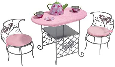 Badger Basket Tea Time Metal Doll Table and Chair Set with Table Cloth and Accessories Silver product image