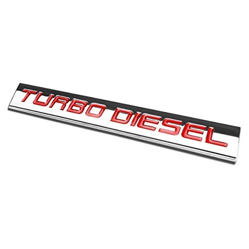 Chrome Finish Metal Emblem Turbo Diesel Badge (Red Letter)