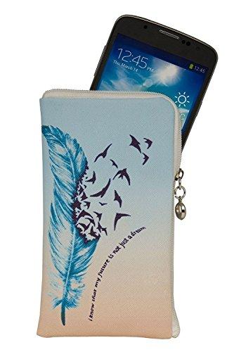 """Elegante Reissverschluss Handytasche Softcase \""""My Future\"""" geeignet für Motorola Moto Z2 Force - Handy Schutz Hülle Soft Etui Tasche"""