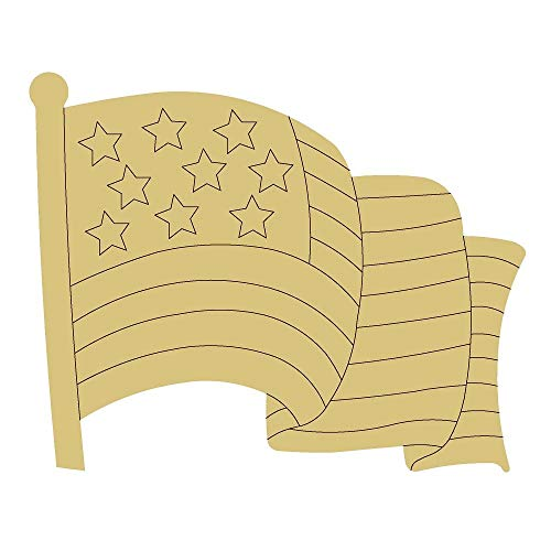 Flag Design by Lines Cutout Unfinished Wood Flag USA 4th of July Freedom America Door Hanger MDF...