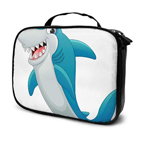Bolsa de maquillaje grande para niñas con diseño de tiburón infantil con diseño de dibujos animados