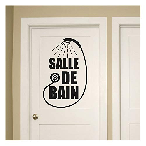 Stickers salle de bain - Sticker salle de bain - Sticker porte - Autocollant de porte - Stickers toilette - decoration toilettes - 30CM x 20CM - Sticker Mural Noir