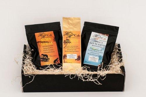 Kaffee - Raritäten Geschenk Set - Katzenkaffe Kopi Luwak (von freilebenden Tieren), Jamaika , Hawaii Kona gemahlen als Geschenk frisch geröstet als Weihnachtsgeschenk