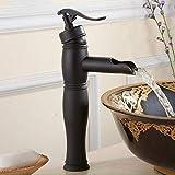 JRUIA Retro Wasserhahn Antik Wasserfall Waschtischarmatur für Aufsatz-Waschbecken - 6