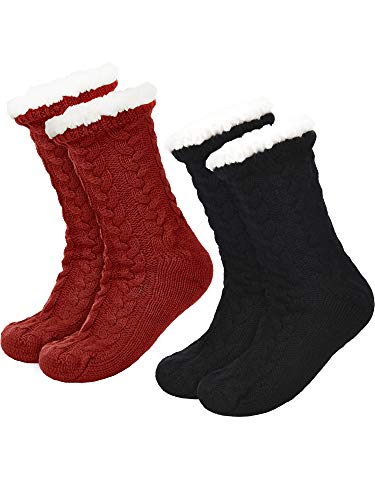 2 Pairs Women's Warm Slipper Socks Christmas Fuzzy...