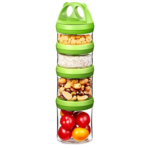 Fantastic Deal! SELEWARE Portable and Stackable 4-Piece Twist Lock Panda Storage Jars Snack Containe...