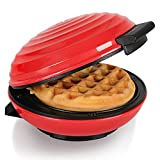 CROWNFUL Mini Waffle Maker Machine, 4 Inches Portable Small Compact Design, Easy to Clean, Non-Stick Surfaces, Recipe Guide Included, Perfect for Breakfast, Dessert, Sandwich, or Other Snacks. Red
