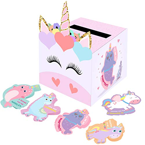 Valentine Boxes for Kids - Unicorn Valentines Day Cards for Classroom Exchange (1 Mailbox, 32 Valentine Cards, 1 Teacher Card)
