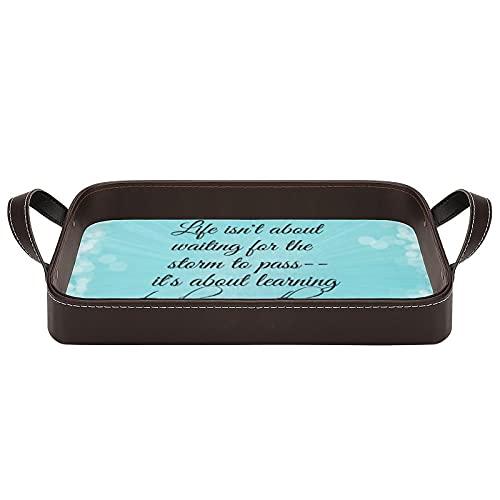 Bandeja decorativa para servir con asas, diseño de texto en inglés 'Learning to Dance in The Rain' (34,5 x 22,6 cm), para café, desayuno, postre