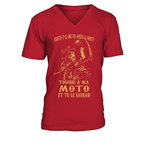 TEEZILY T-Shirt Homme Existe-T-IL Une Vie Apres LA Mort Touche A MA Moto ET TU Le Sauras - Rouge - M