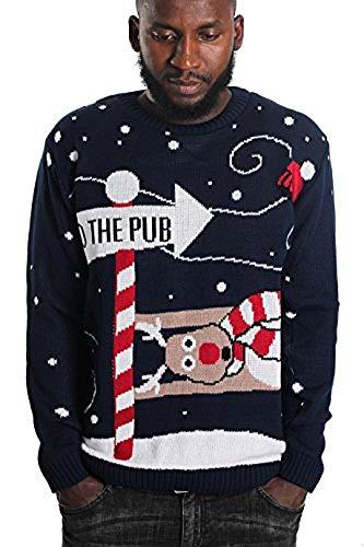 Momo&Ayat Fashions - Jersey navideño para hombre, talla S a XL Azul azul marino XXXL