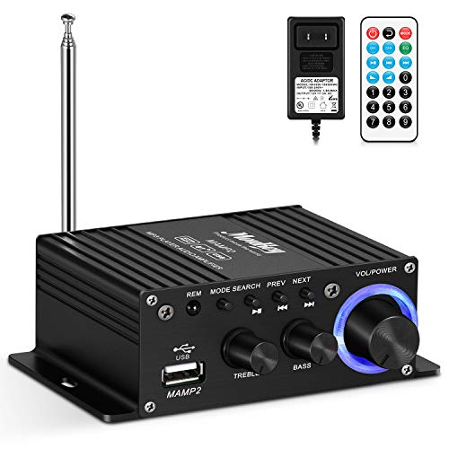 of dj tech dj amps dec 2021 theres one clear winner Moukey Mini amplifier home audio Bluetooth 5.0 for speakers- 50W 2 Channel Power Audio Receiver FM USB, AUX, with Remote Control, Power Supply for Car Home use, Tablets, Phones, Computers - MAMP2