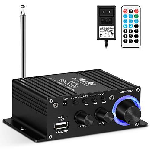 Moukey Mini Amplificador de Sonido Amplificador de Potencia BT Audio Stereo- Receptor de Audio Estéreo de Doble Canal 50 W / USB / AUX / FM para Altavoces Domésticos con Control Remoto