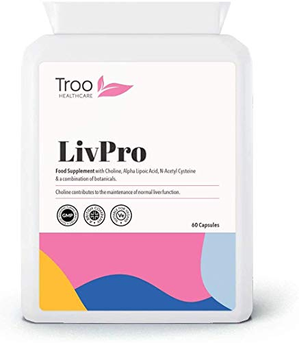 LIVpro Supplement 60 Capsules | Liver Support with Choline, Turmeric Curcumin, NAC and More | UK Manufactured to GMP Standards