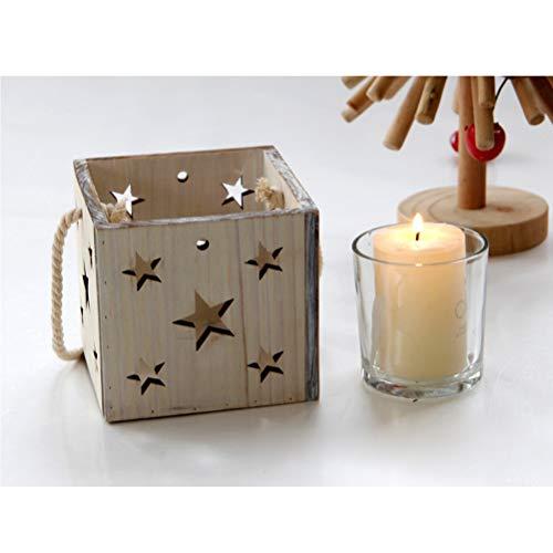 Uonlytech - Portavelas de madera - Patrón de estrellas - Candelabro - Ornamento casero con taza de vidrio incorporada sin vela