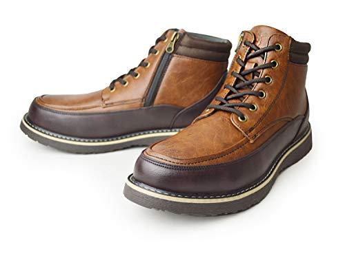 [キャプテン スタッグ] 防水 ブーツ メンズ レインブーツ レインシューズ スニーカー スノーブーツ メンズブーツ ワークブーツ ショートブーツ 防滑 レースアップ 靴 メンズシューズ Brown 25.5cm
