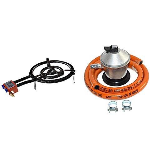 Garcima 76040 L40 - Hornillo paellero gas plano, 2 fuegos, Negro, 41 x 65 x 12 cm + S&M 321771 Regulador de Gas Butano Goma M + 2 Abraz, Gris/Naranja, 1,5 metros de tubo