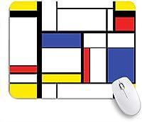 ECOMAOMI 可愛いマウスパッド モンドリアンカラフルなバウハウス幾何学の青いパターン抽象的な現代絵画 滑り止めゴムバッキングマウスパッドノートブックコンピュータマウスマット