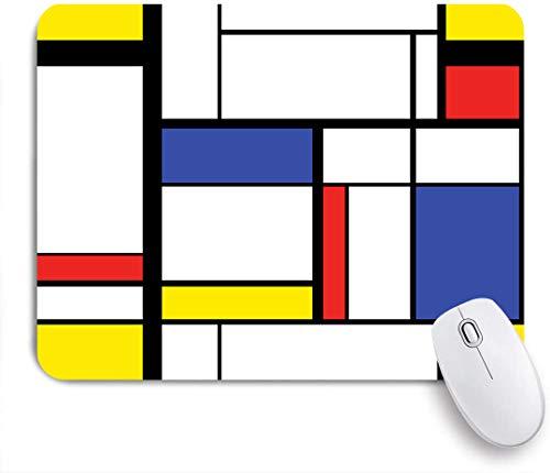 Marutuki Gaming Mouse Pad Rutschfeste Gummibasis,Rasterblaue abstrakte moderne Malerei geometrische Rechteck-Kubismus-Farbe,für Computer Laptop Office Desk,240 x 200mm