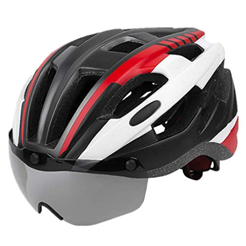 Perfeclan Frauen Männer Bike Helm Abnehmbare Magnet Brille Fahrrad Helme Schutz Crash Hut mit Abnehmbare Waschbar Futter - Rot
