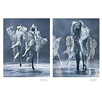 白黒バレエダンサーフィギュア写真大ポスタープリント北欧スタイルの部屋の壁アート写真家の装飾キャンバス絵画,60*80cm*2