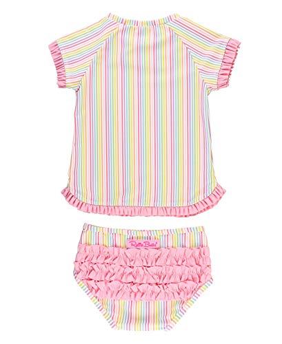 RuffleButts Girls Rainbow Stripe Rash Guard Bikini - 6