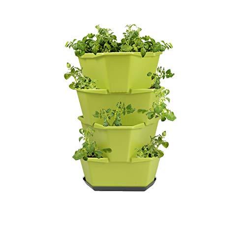 GUSTA GARDEN Paul Potato Starter Kartoffelturm - stapelbar - Hochbeet/Pflanzgefäß/Blumentopf für Balkon, Garten und Terrasse (4 Etagen, Grün) inkl. Untersetzer