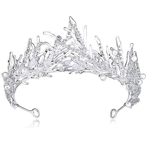 Coucoland Tiara de novia decorada con perlas de cristal, corona de princesa, corona de cumpleaos, corona de reina para mujer, accesorio para disfraz plata Talla nica