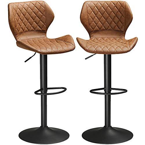 "DICTAC Adjustable Bar Stools Set of 2 Kitchen Bar Stools Swivel Bar Chairs Breakfast Bar Stools Counter Height Leather Bar Stools Adjustable Hight 23.6"" to 31.5"""