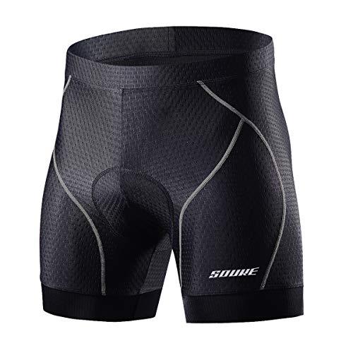 Souke Sports Men's Cycling Underwear Shorts 4D Padded Bike Bicycle MTB Liner Shorts with Anti-Slip Leg Grips(Grey, Large)