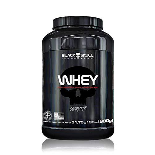 Black Skull Whey 100% Concentrado Isolado Hidrolisado, Morango - 900 g