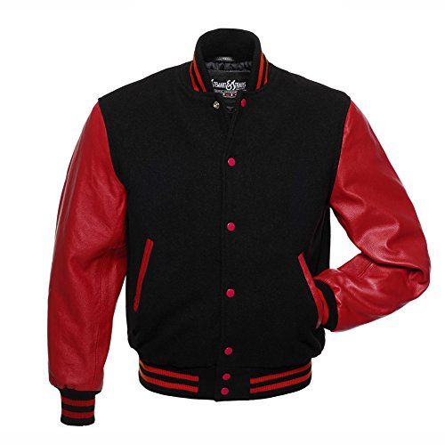 C122-XL Varsity Letterman Jacket Black Wool & Red Leather