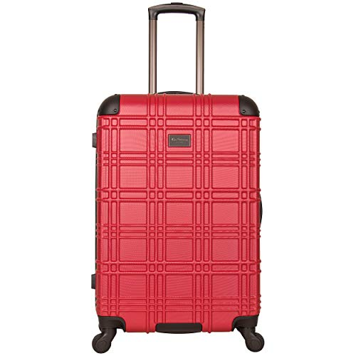Ben Sherman Nottingham Lightweight Hardside 4-Wheel Spinner Travel Luggage, Red, 24-inch Checked