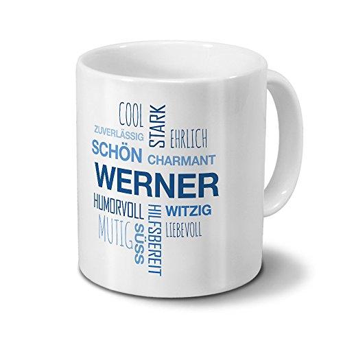 printplanet Tasse mit Namen Werner Positive Eigenschaften Tagcloud - Blau - Namenstasse, Kaffeebecher, Mug, Becher, Kaffeetasse