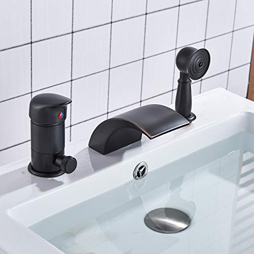 Rozin Black Single Handle Bathtub Waterfall Mixer Faucet with Handheld Shower Head