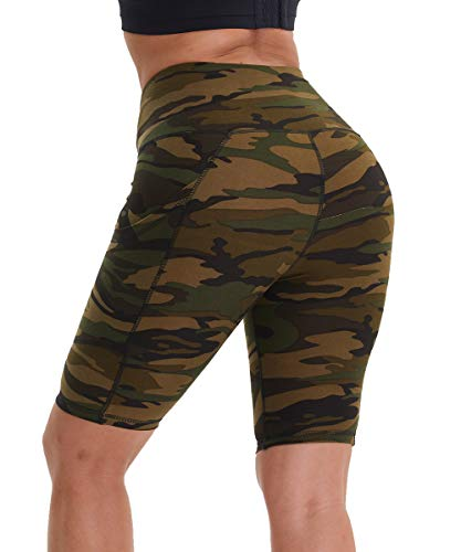 HLTPRO Pantalones cortos de yoga de cintura alta para mujer, con control de barriga, por encima de la rodilla, pantalones cortos para correr al aire libre,, Camuflaje Amarillo Verde, XS