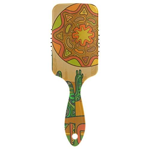 DEZIRO Traditionele Mexicaanse Zon Cactus Anti-Statische Kussen Borstel Geweldig voor Detangling Dik, Normaal of Dun Haar & Pruiken Krullend Haar Niet Gemakkelijk Knoopt