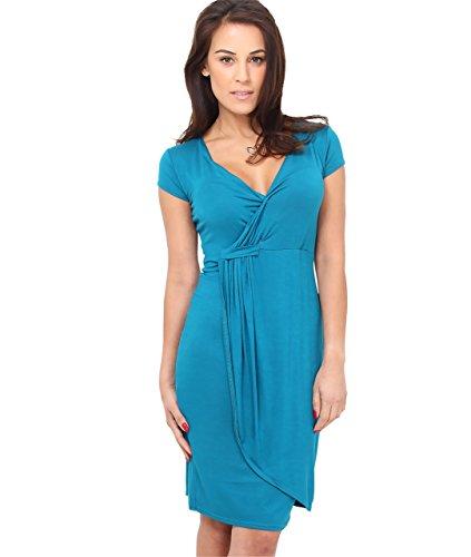 KRISP Vestido Moda Mujer Fruncido, Verde Azulado (6678), 46, 6678-TEA-18