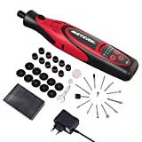 Meterk Cordless Rotary Tool 7.4V Mini DIY Electric Rotary Multi-Tool Kit 5-Speed Adjustable, 4 Front LED Lights and 38pcs Accessories for Carving, Engraving, Sanding, Polishing and Cutting