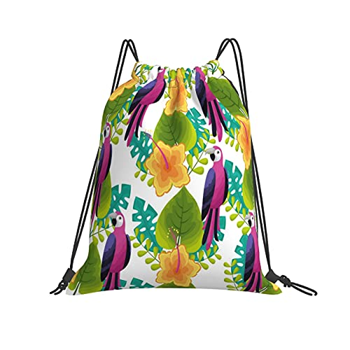 Exotic Parrot Bird Flower Leaves Tropical Drawstring Backpack Gym Rope Bag Waterproof Beach Swimming Bag, Suitable For Men And Women Sports Yoga
