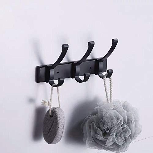 Espacio aluminio negro doble gancho moda simple Moda de pared Corat y sombrero Hook Hook Sala de estar Hoja multifuncional Gancho de fila-C1 simple y elegante combina con el estilo moderno