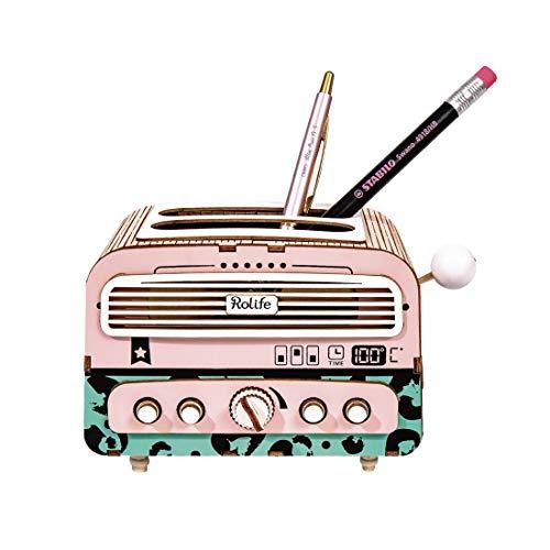 ROBOTIME 3D DIY Radio Forma pincel portalápices, Puzzle Juego Steam/Stem Toy, Bildungs Multifunktions Bausatz, Hauptdekor Organisator regalo para niños scherzt estudiantes